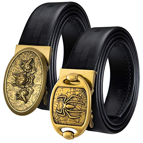 (Golden Wolf Buckle Western Cowboy Cool Spider Belt Black Smooth Strap Soft Casual Great for Jeans Khaki Pants)