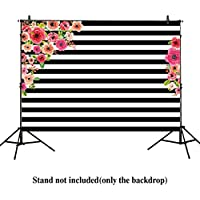 Allenjoy 7x5ft photography backdrops Black and white stripe watercolor pink flower banner Birthday party wedding decoration bridal shower photo studio booth background photocall