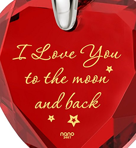 925 Sterling Silver Heart Necklace I Love You to The Moon and Back Pendant 24k Gold Inscribed Red CZ, 18'' by Nano Jewelry (Image #2)