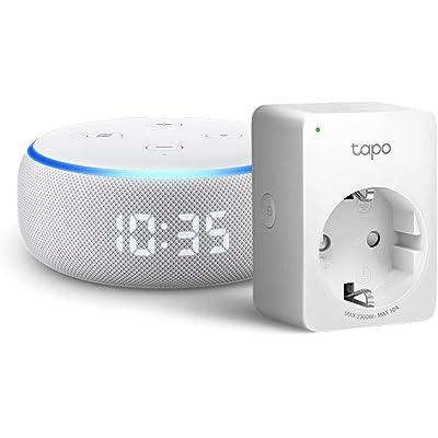 Echo Dot (3.ª generación) - Altavoz inteligente con reloj y Alexa +Tapo P100 Enchufe inteligente, compatible con Alexa