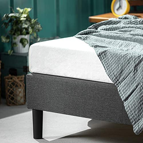 ZINUS Curtis Upholstered Platform Bed Frame / Mattress Foundation / Wood Slat Support / No Box Spring Needed / Easy Assembly, Grey, Full 51NkROoMJeL