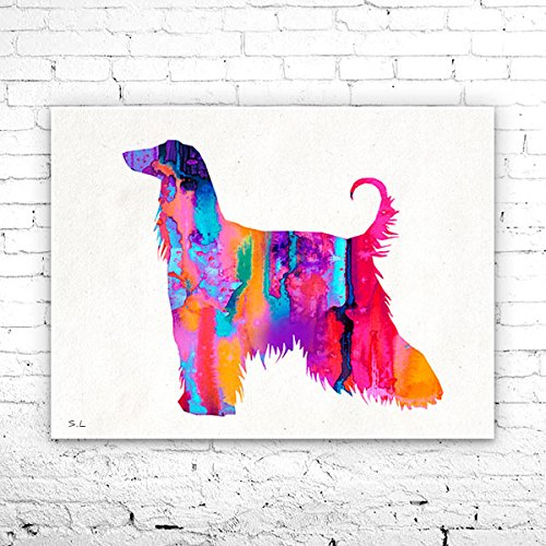 Afghan Hound Watercolor Print, Afghan Hound art, dog art, dog print, Home Decor, dog watercolor, animal watercolor, animal art