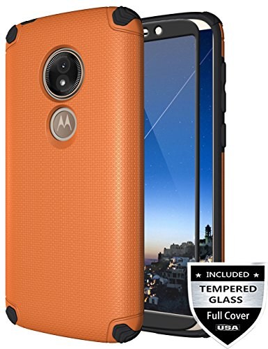 Moto E5 Play Case, Moto E5 Cruise Case with [Tempered Glass Screen Protector] Nuomaofly Shockproof Texture Magnetic Hard Back Cover Thin Armor Protective Case for Motorola Moto E5 Play 2018 (Orange)