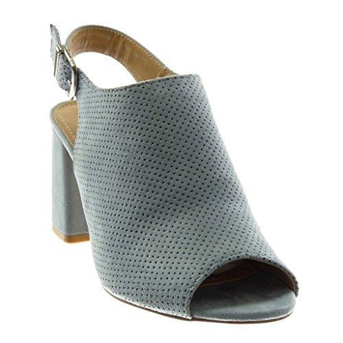 Angkorly Damen Schuhe Pumpe Mule - Open-Back - Peep-Toe - Perforiert - Schleife - String Tanga Blockabsatz High Heel 8.5 cm Blau