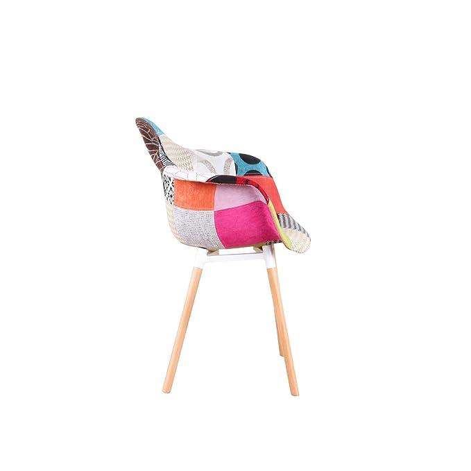 ArtDesign FR - Juego de 2 sillones Patchwork Tela de Lino ...