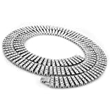 14k White Gold 4 ROW Simulated Clear Diamond Iced Out Necklace, 30-36 inches