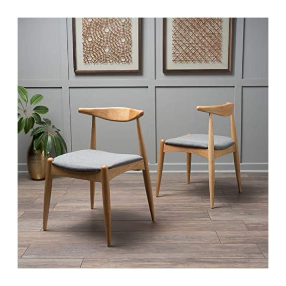 """Christopher Knight Home Francie Fabric with Oak Finish Dining Chairs, 2-Pcs Set, Grey / Oak - """"Includes: Two (2) Dining Chairs Material: Fabric  Composition: 100% Polyester Leg Material: Rubber wood Color: Grey Leg Finish: Oak Some Assembly Required Dimensions: 21.25 inches deep x 21.45 inches wide x 29.52 inches high Seat Width: 18.25 inches Seat Depth: 18.00 inches Seat Height: 17.75 inches"""" - kitchen-dining-room-furniture, kitchen-dining-room, kitchen-dining-room-chairs - 51NkRx UnjL. SS570  -"""