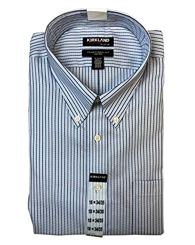 Natural Stripe Shirt - Kirkland Signature Men's Traditional Fit Button Front Long Sleeve Shirt (Blue Stripe, 15 32/33)