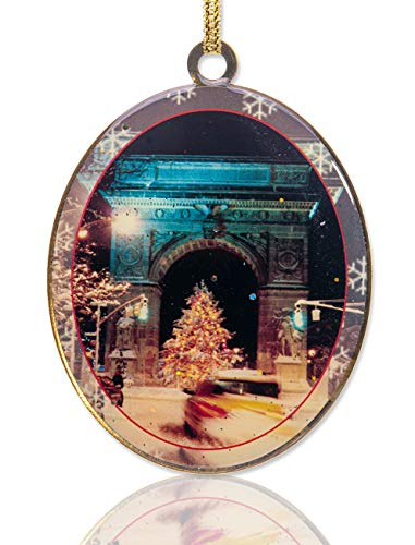 New York City Christmas Ornament - Washington Arch Christmas Tree - Christmas Tree Ornament from Christmas in NYC Collection - Doublesided with Glitter (Christmas In Decorations Nyc)