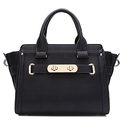 HGDR Frauen Echtes Leder Handtaschen Schulter Messenger Bag Damen Top Griff Satchel Portable Office Bag Totes Black