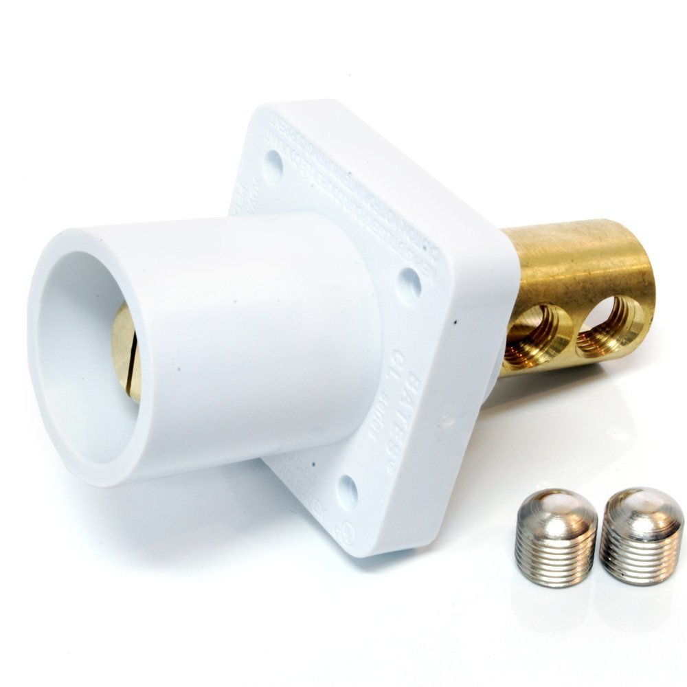 Marinco CL40MRB-BX CL Cam Type, Panel Mount, 400 Amp, 600 Volt, 2/0 - 4/0 AWG double set screw, Male - White (B)