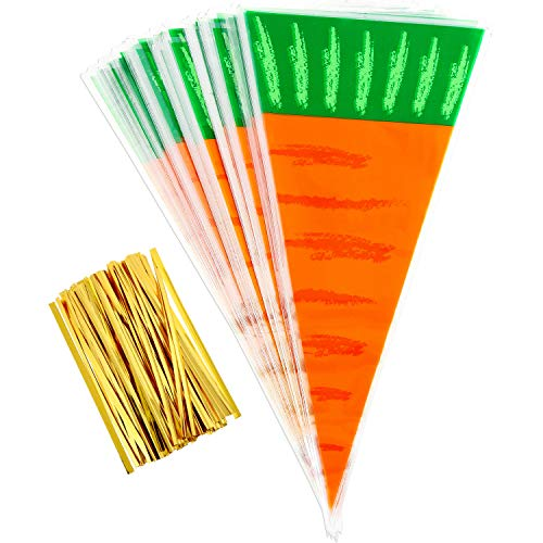 Zhanmai 100 Pieces Cellophane Treat Bags Easter Carrot Cone Goodies Bags and 100 Pieces Gold Twist Tie for Party Supplies, 16 by 8 Inch