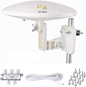 TV Antenna, LAVA HD-8000 Omnidirectional TV Antenna, Amplified Digital 4K HDTV, 360 Degree Reception, Motorhome & RV& Camper, for 4 TVs, 40ft Cacle