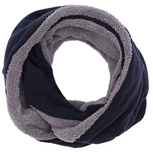CEAJOO Men's Fleece Infinity Scarf Winter Thick Neck Warmer Windproof Navy - Blue Scarf Fleece