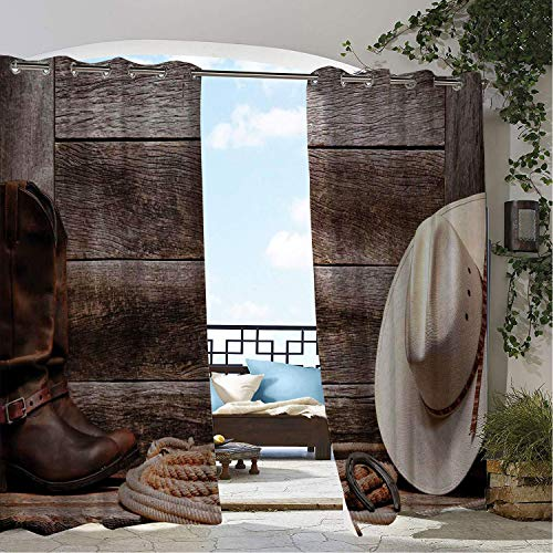 Linhomedecor Balcony Waterproof Curtains Western American West Rodeo White Straw Cowboy Hat Lariat Leather Boots on Rustic Barn Wood doorways Grommet Privacy Curtains 120 by 72 inch ()