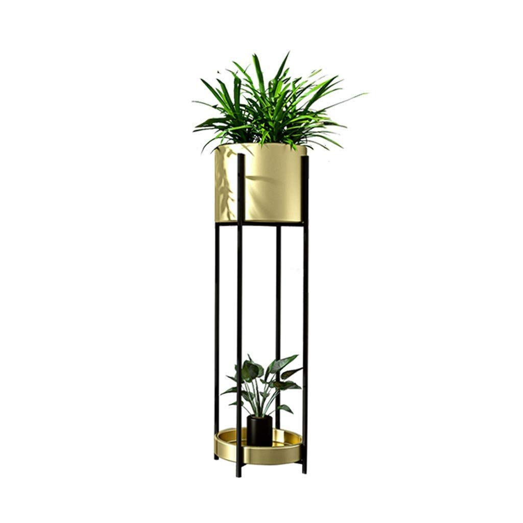 gold 70cm×20cm Metal Plant Display Stand, Pot Rack, Bonsai Display Stand, Multi-Functional Storage, Decorative Frame, Indoor Outdoor Courtyard Garden Terrace Balcony Frame (color   White, Size   85cm×23cm)