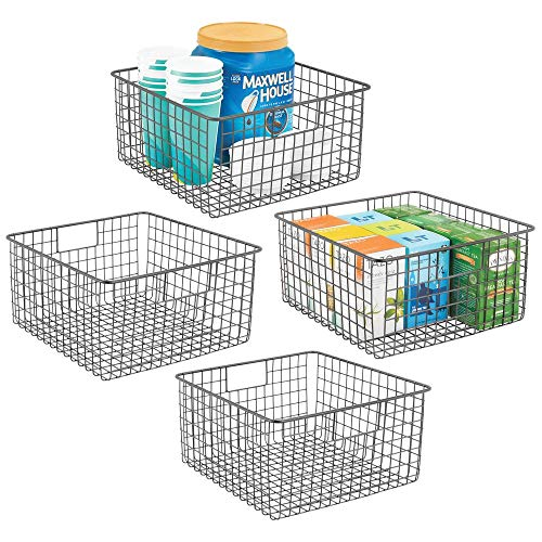 mDesign Farmhouse Decor Metal Wire Food Storage Organizer, Bin Basket with Handles for Kitchen Cabinets, Pantry, Bathroom, Laundry Room, Closets, Garage – 12″ x 12″ x 6″ – 4 Pack – Graphite Gray