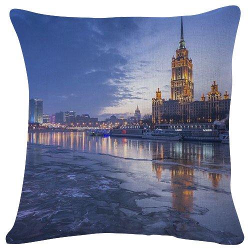 18x18 Inches Plush Cushion Covers Throw Pillowcases - Hotel Radisson Moscow Russia - Super Soft Fashion Simple Decorative Pillowcases