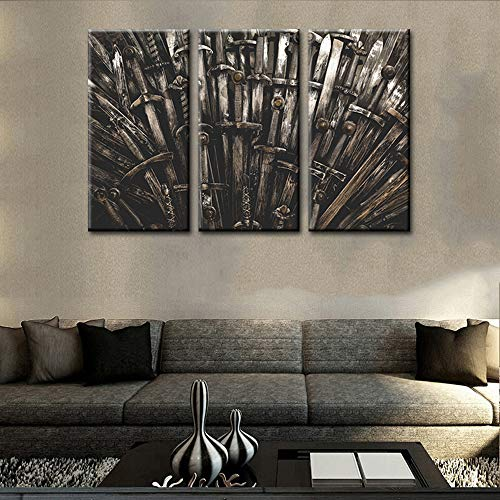 TUMOVO The Iron Throne Pictures Game of Thrones Paintings 3 Panel Canvas Medieval Wall Art Metal Knight Swords Artwork Home Decor for Living Room Framed Stretched Ready to Hang(28''x42'') ()