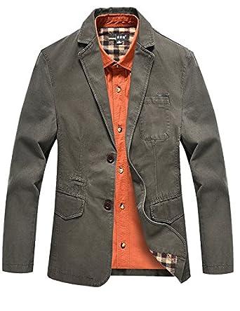 Yeokou Men's Lightweight Cotton Slim Fit Casual Suit Jacket ...
