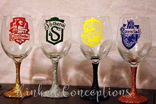 Hogwarts House Wine Glass - Nerd Glasses Name