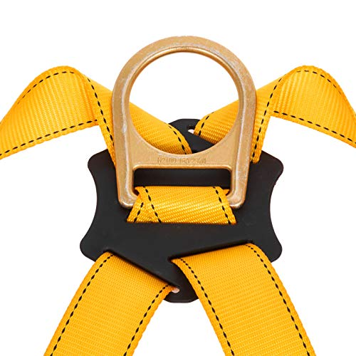 Happybuy Construction Safety Harness Fall Protection Full Body Safety Harness with 3 D-Rings,Belt and Additional Padding (Yellow with Belt) by Happybuy (Image #9)