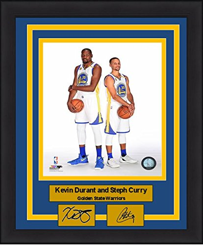 "Golden State Warriors Kevin Durant and Steph Curry 8"" x 10"" Framed and Matted Photo with Engraved Autographs by..."