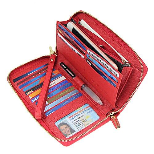 Women RFID Blocking Wallet Crossgrain Leather Zip Around Clutch Large Travel Purse Red