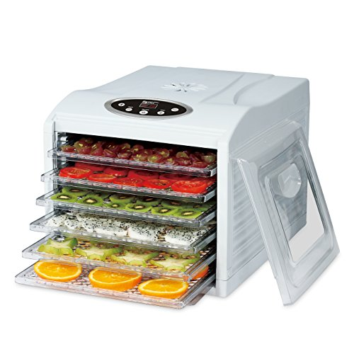 Prestidigitation MILL Electric Countertop Food Dehydrator, 6 Drying trays, Digital 8 Preset Temperature controls and timer, Airflow Issuing Technology, 95º F To 158 º F Includes 6 Fine Mesh Trays, White