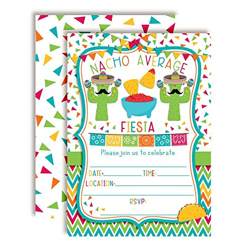 Nacho Average Party Chips, Dip & Taco Themed Fiesta Birthday Party Invitations, 20 5