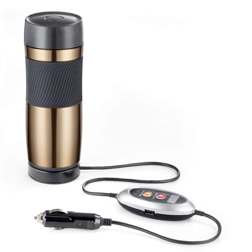 soundwinds Electric Car Cup Stainless Steel Water Heating Cup Portable Travel Heating Cup mug Car Electric Kettle 12V Car Coffee Mug Heater Thermal Insulation Bottle for Tea Coffee