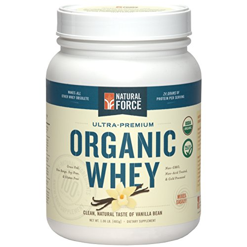 Natural Force WHEY Protein ORGANIQUE - Herbe Fed, Free Range, Paleo bienvenus (Vanilla Bean)