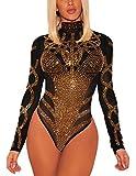 SheShy Womens Sexy Sheer Mesh Rhinestone Long Sleeve Bodysuit Tops Clubwear (L, Black)