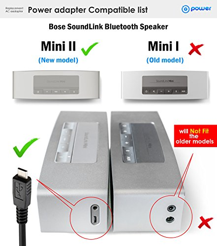 T-Power (6 Feet) Ac adapter for Bose SoundLink Color Mini 2 II Power Cord 627840, 725192 Bluetooth Portable Speaker Power Supply Cord (NOT for Mini 1)