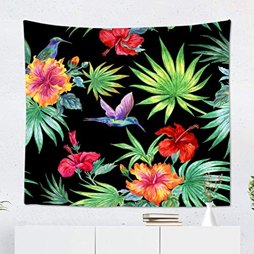 Suklly Tapestry Wall Hanging Polyester from Hummingbird Hibiscus and Palm Leaves on Tropical Pattern Home Decor Living Room Bedroom Dorm 50 x 60 inches Picnic Mat Beach Towel]()