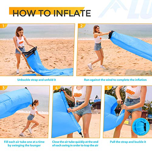 LUDTOM Inflatable Lounger Air Sofa Portable Waterproof Anti-Air Leaking Pouch Co
