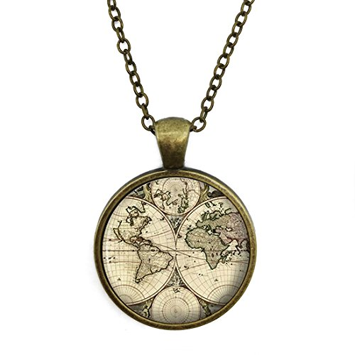 (Crystal Necklace World Map Old Antique Atlas Picture Vintage jewelry pendant Bronze Charm by Pretty Lee)