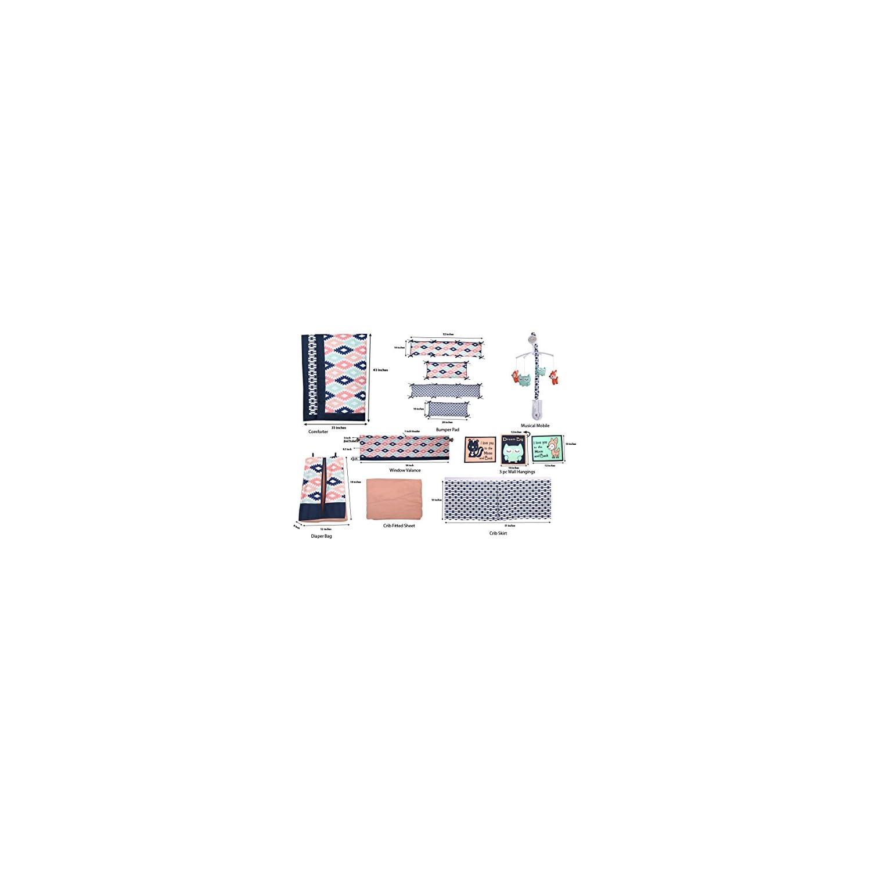 Bacati – Emma Aztec Coral/Mint/Navy 10 pc Crib Set Including Bumper Pad