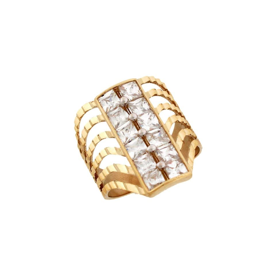 14k Solid Yellow Gold Diamond Cut CZ Eye Catching Ring Jewelry
