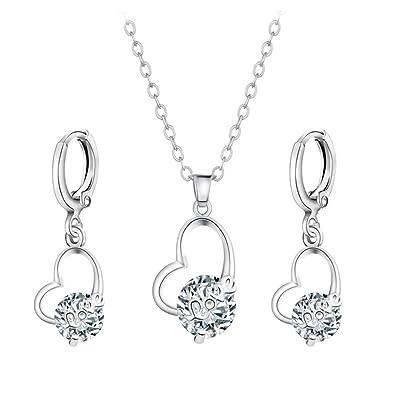 Amazon.com  yingyue Women Lovely Heart Shape Pendant Inlaid Zircon ... 0fa28b9660