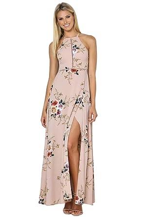 4707e98fcf Miss Floral® Womens Backless Floral Print Split Maxi Dress 3 Colour Size  6-14: Amazon.co.uk: Clothing
