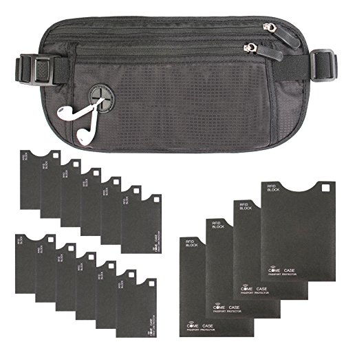 Money Belt with RFID Blocking Sleeves Set (Hidden Travel Wallet & 12 Credit Card Holders & 4 Passport Protectors), Black
