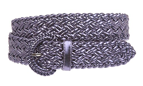 - MONIQUE Women 100% Hand Made Metallic Braided Woven Non Leather 32mm Belt,Dark Levender L - 40