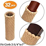 MelonBoat Chair Leg Socks, Hardwood Floor Protectors, Furniture Feet Caps Covers, Fit Girth 2-3/4'' to 7'', 32 Pack Cross Knitted Light Brown