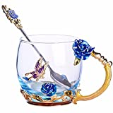 Best Birthday Gifts  Women - Handmade Glass Coffee Mugs with Spoon Tea Cups Review