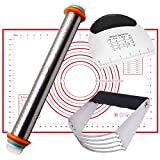Rolling Pins Baking Mat Dough Cutter Set 4 in 1 Kitchen Baking Tools Include Stainless Steel Pastry Blender Dough Scraper for Pizza, Pie, Pastries, Pasta,and Cookies-By Colefour