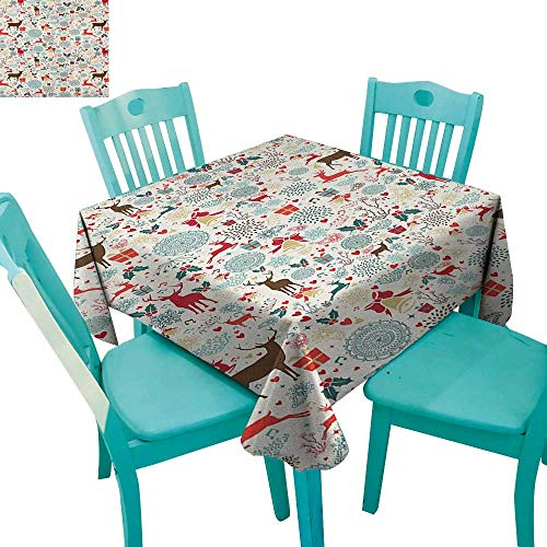 "longbuyer Christmas,Dinner Picnic Table Cloth,Vintage Xmas Theme Icons Hearts Jingle Bells Deer Floral Details,70""x70"",Suitable for Kitchen, dustproof Desktop Decoration"