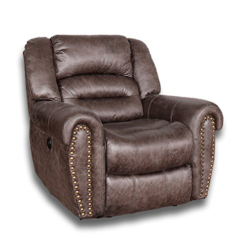 BONZY Power Recliner Chair Worned Leather Look Micro Fiber Oversized Electirc Recliner Chair - Smoke Gray