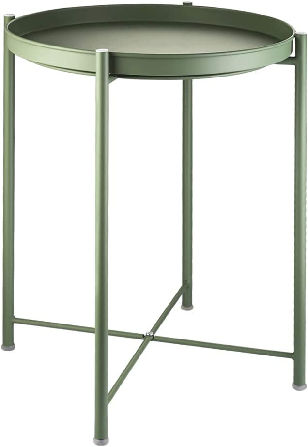 EKNITEY End Table,Folding Metal Side Table Waterproof Small Coffee Table Sofa Side Table with Removable Tray for Living Room Bedroom Balcony and Office (Atrovirens)