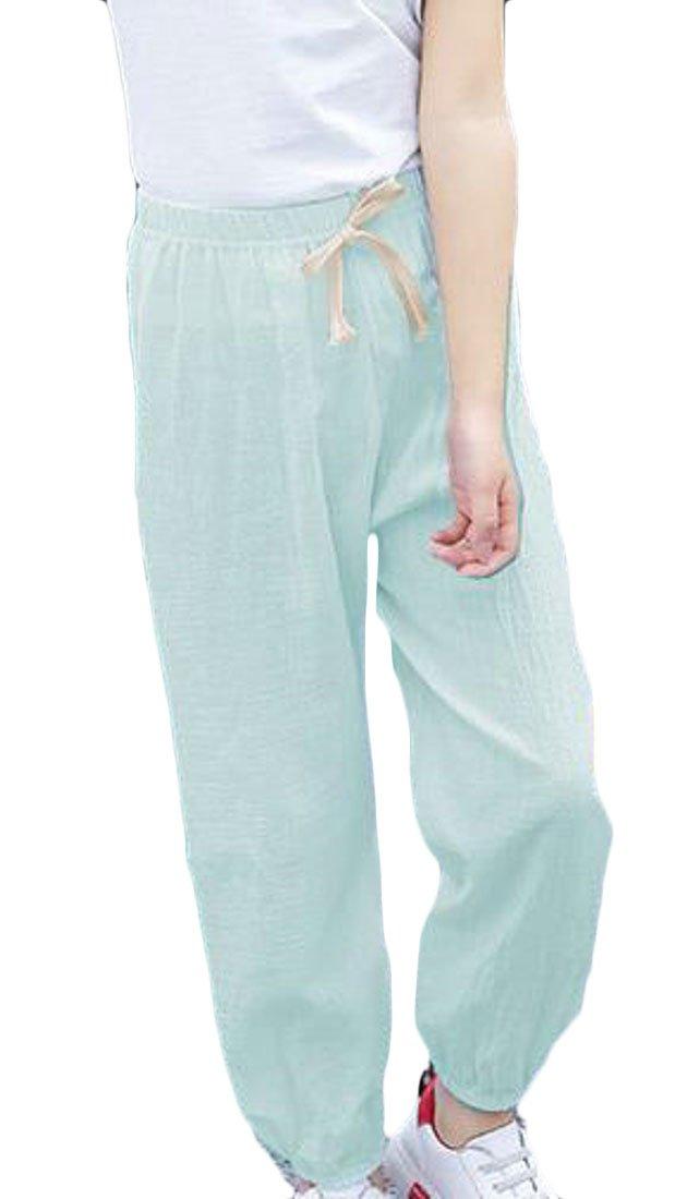 JuJuTa Girls Drawstring Cotton Elastic Wasit Jogger Pants Active Lightweight Pant Green 6X